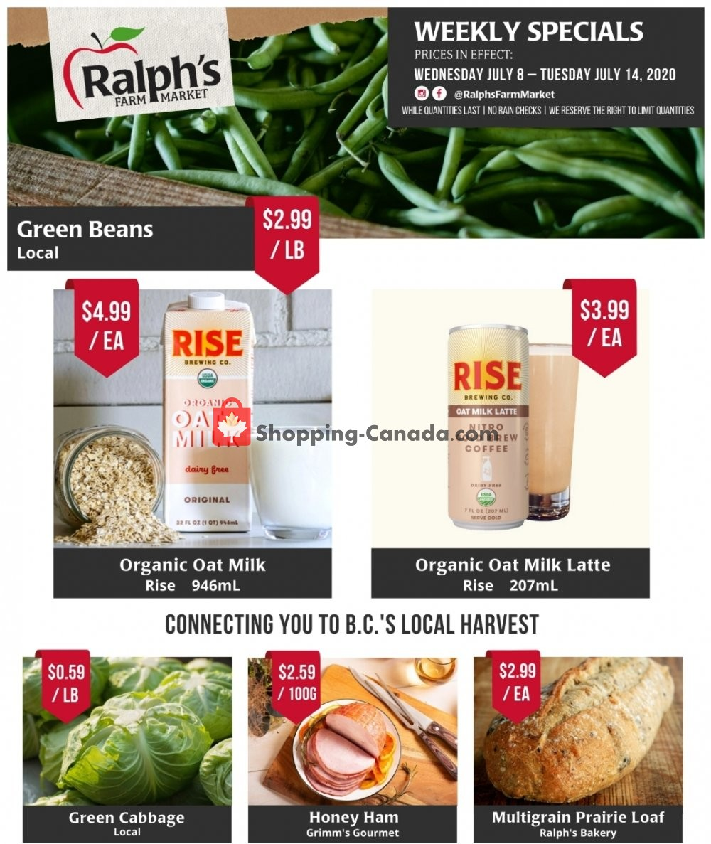 Flyer Ralph's Farm Market Canada - from Wednesday July 8, 2020 to Tuesday July 14, 2020