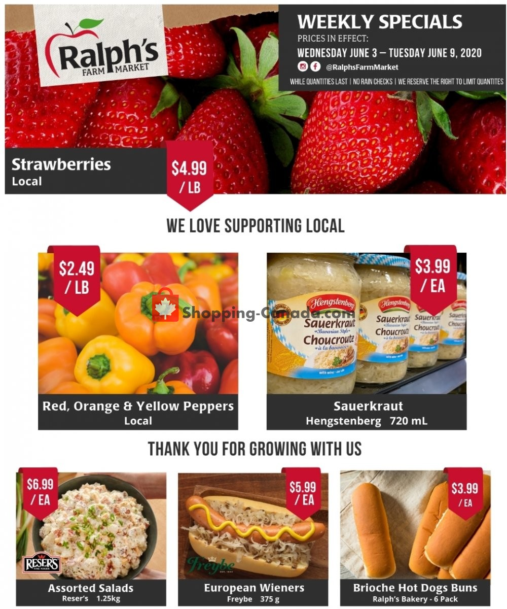Flyer Ralph's Farm Market Canada - from Wednesday June 3, 2020 to Tuesday June 9, 2020