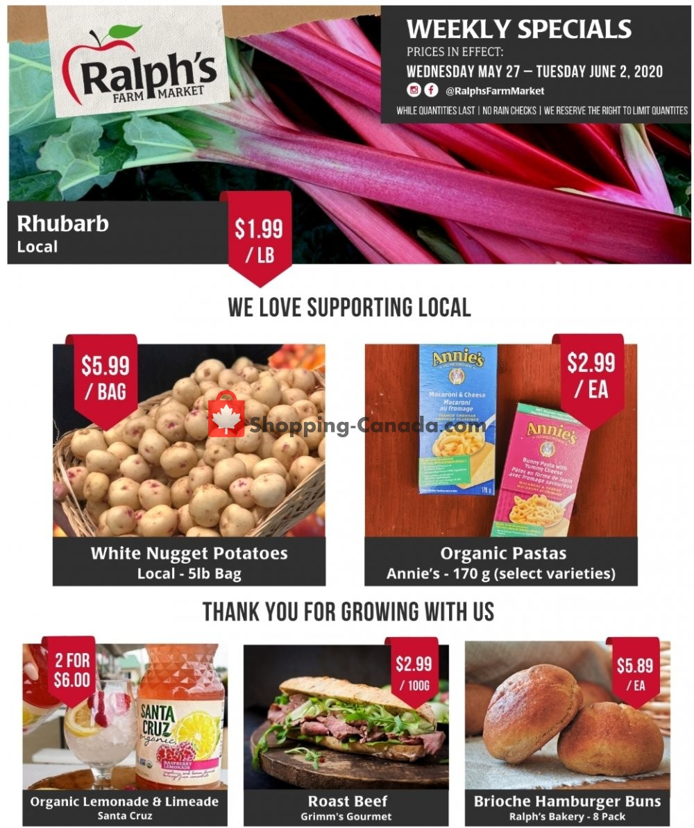 Flyer Ralph's Farm Market Canada - from Wednesday May 27, 2020 to Tuesday June 2, 2020
