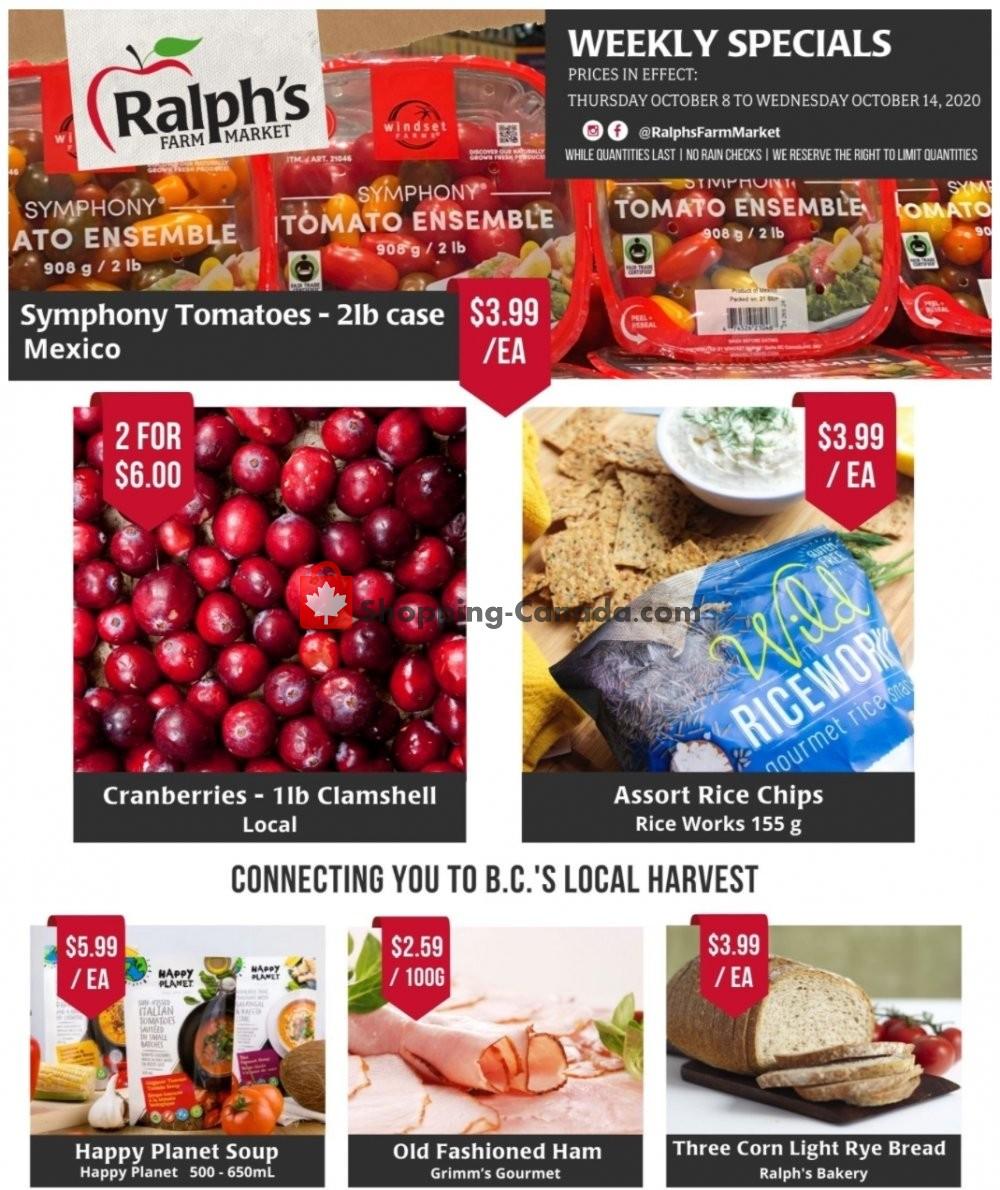 Flyer Ralph's Farm Market Canada - from Thursday October 8, 2020 to Wednesday October 14, 2020
