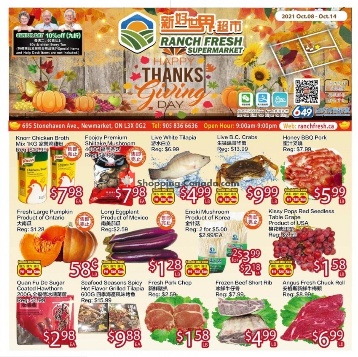 Flyer Ranch Fresh Supermarket Canada - from Friday October 8, 2021 to Thursday October 14, 2021