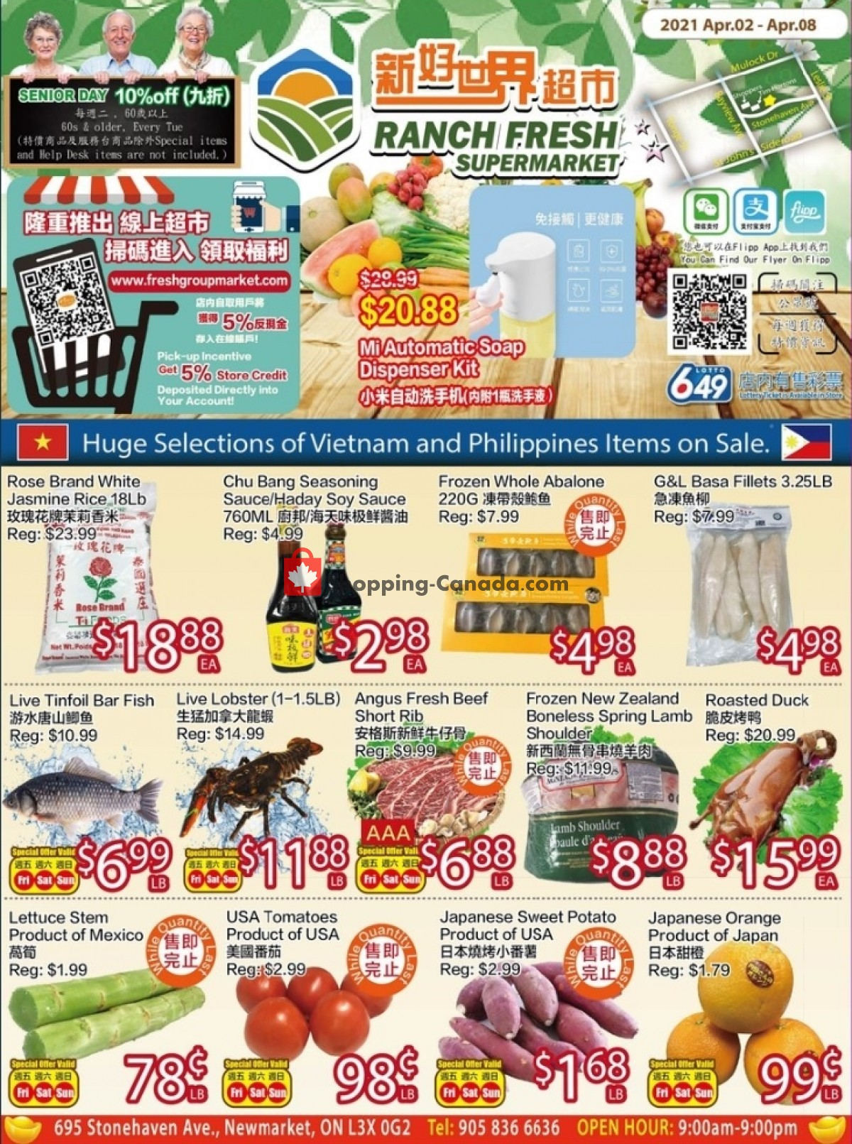 Flyer Ranch Fresh Supermarket Canada - from Friday April 2, 2021 to Thursday April 8, 2021