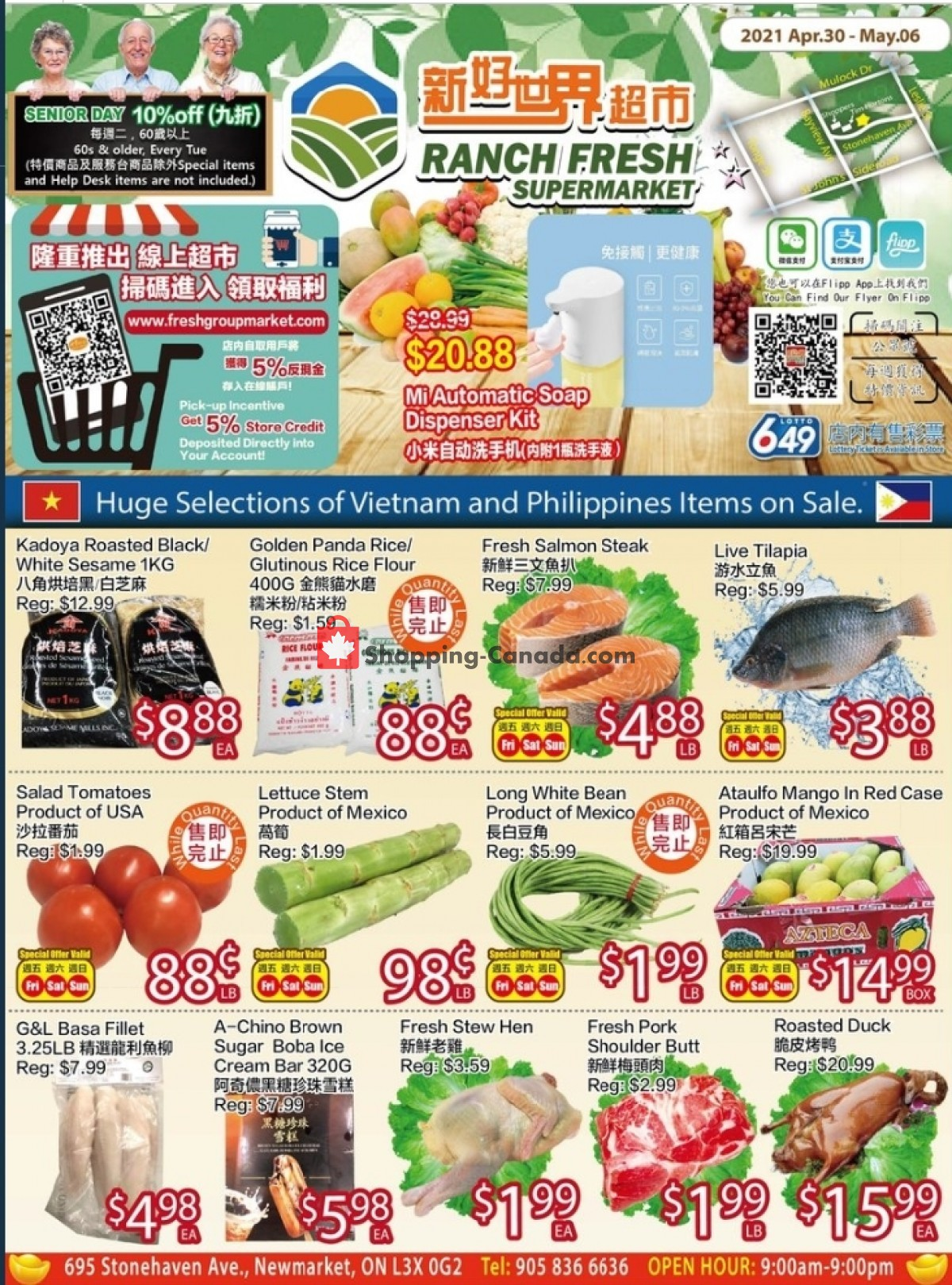 Flyer Ranch Fresh Supermarket Canada - from Friday April 30, 2021 to Thursday May 6, 2021