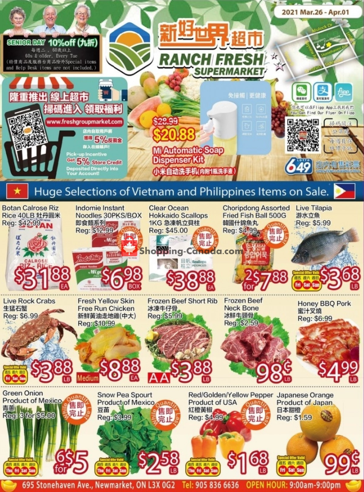 Flyer Ranch Fresh Supermarket Canada - from Friday March 26, 2021 to Thursday April 1, 2021
