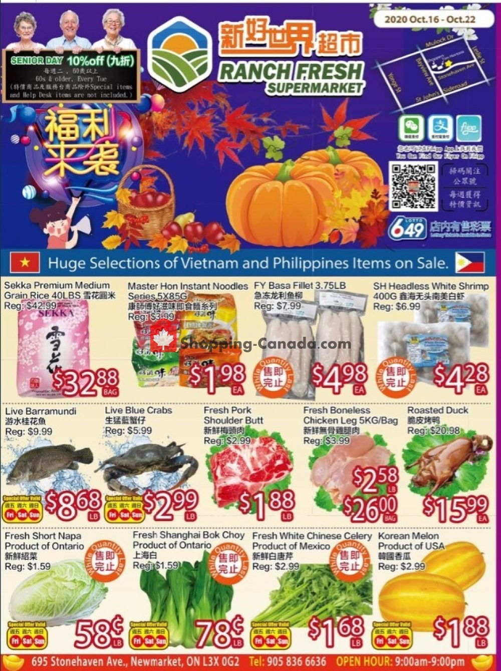 Flyer Ranch Fresh Supermarket Canada - from Friday October 16, 2020 to Thursday October 22, 2020