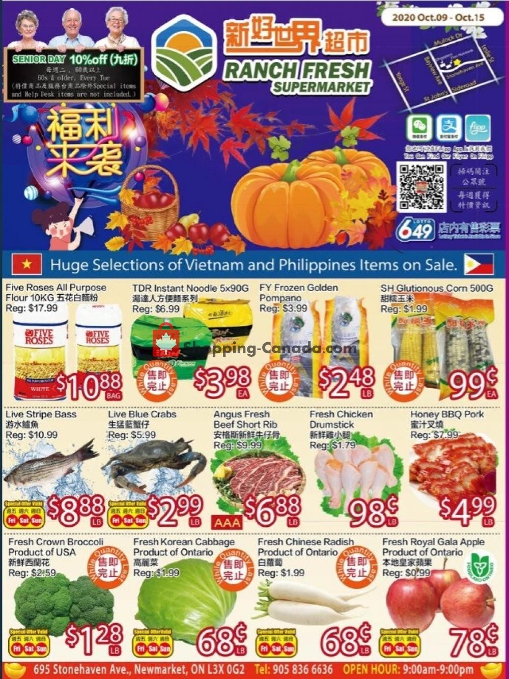 Flyer Ranch Fresh Supermarket Canada - from Friday October 9, 2020 to Thursday October 15, 2020