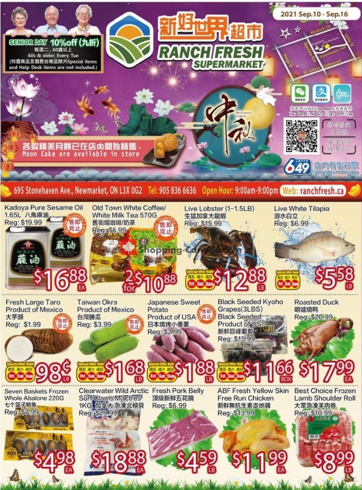 Flyer Ranch Fresh Supermarket Canada - from Friday September 10, 2021 to Thursday September 16, 2021