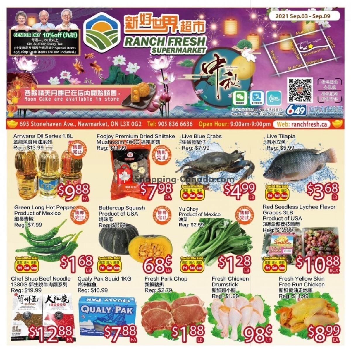 Flyer Ranch Fresh Supermarket Canada - from Friday September 3, 2021 to Thursday September 9, 2021