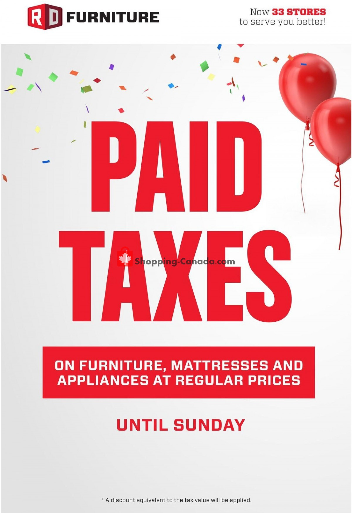 Flyer RD Furniture Canada - from Monday April 26, 2021 to Sunday May 2, 2021