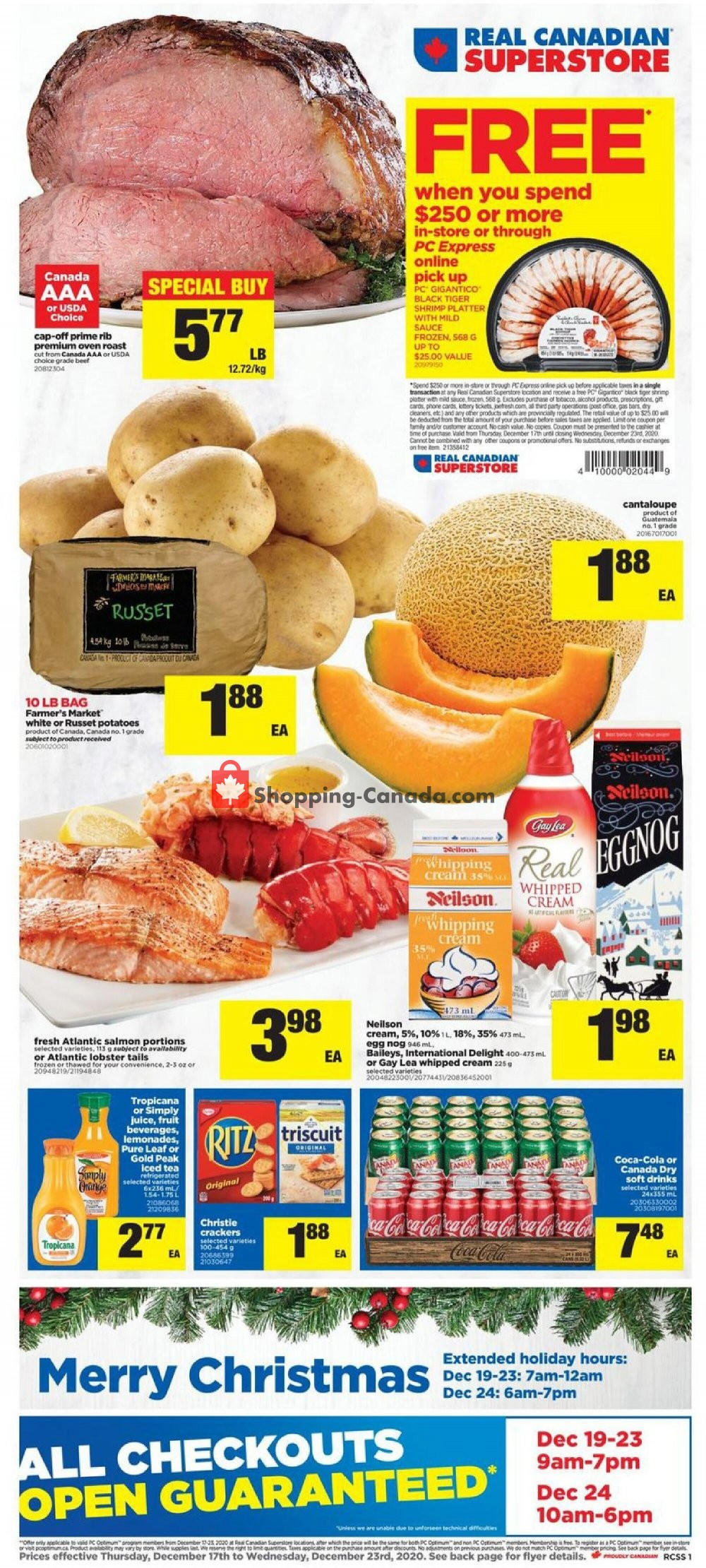 Flyer Real Canadian Superstore Canada - from Thursday December 17, 2020 to Wednesday December 23, 2020