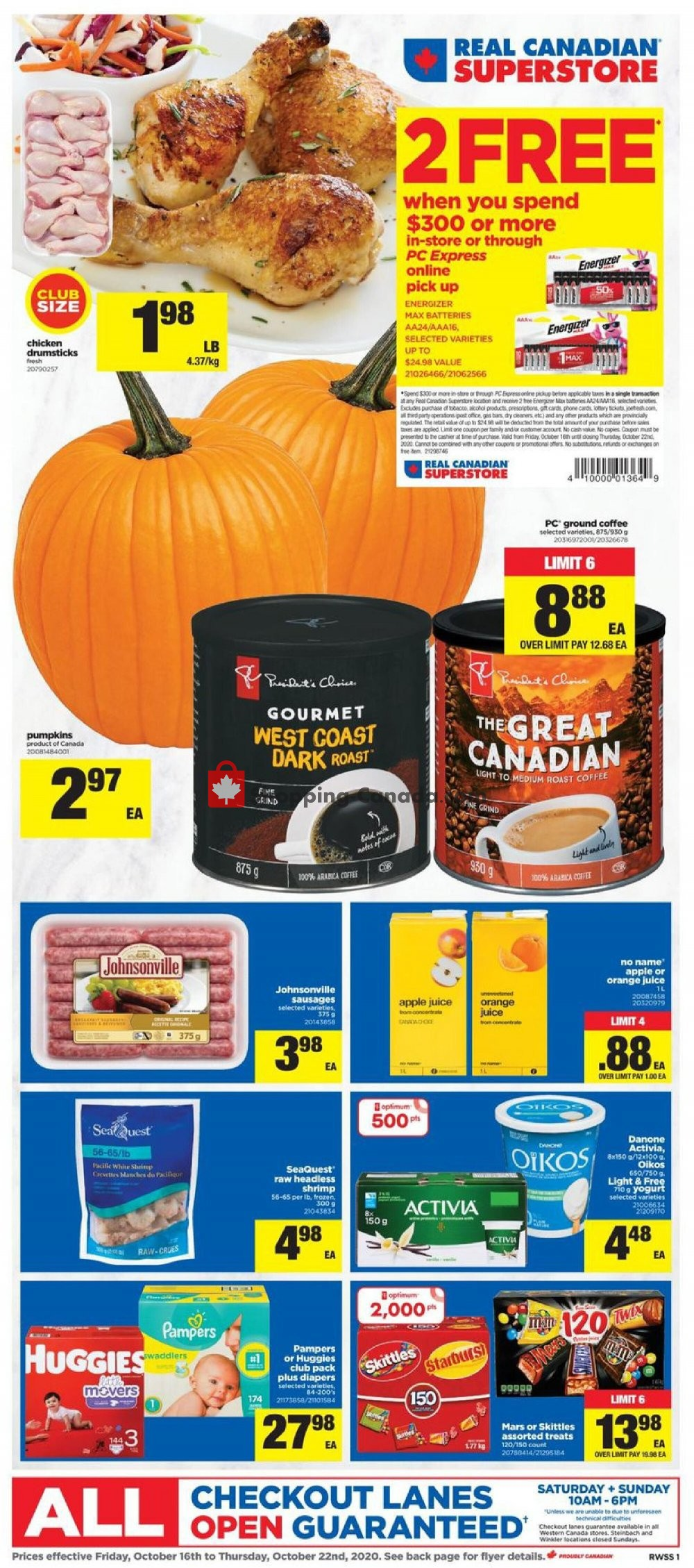 Flyer Real Canadian Superstore Canada - from Friday October 16, 2020 to Thursday October 22, 2020