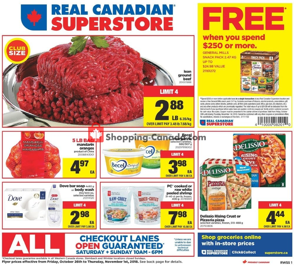 Flyer Real Canadian Superstore Canada - from Friday October 26, 2018 to Thursday November 1, 2018
