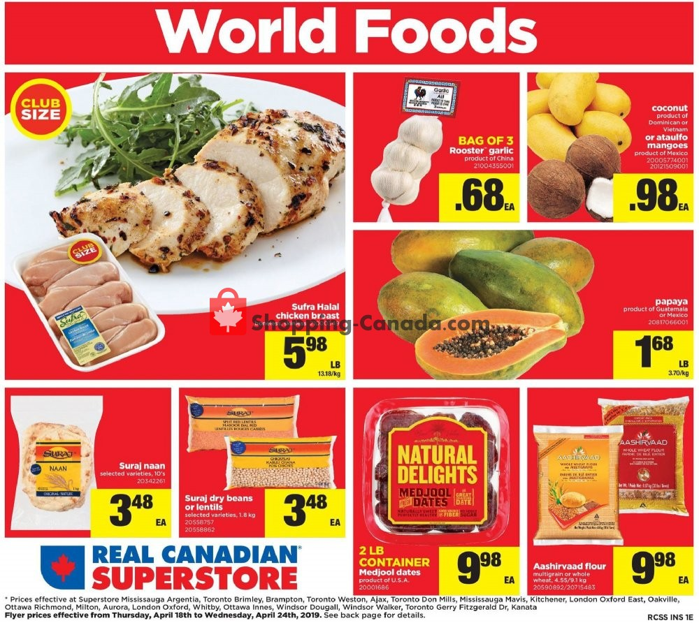 Flyer Real Canadian Superstore Canada - from Thursday April 18, 2019 to Wednesday April 24, 2019
