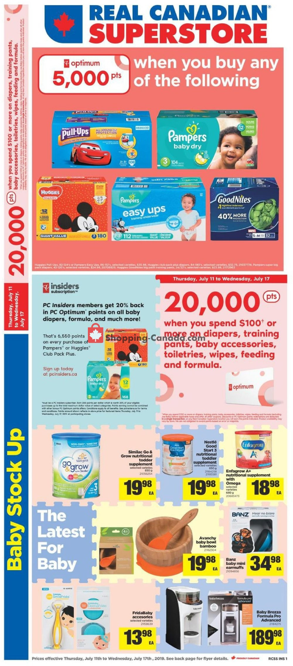 Flyer Real Canadian Superstore Canada - from Thursday July 11, 2019 to Wednesday July 17, 2019