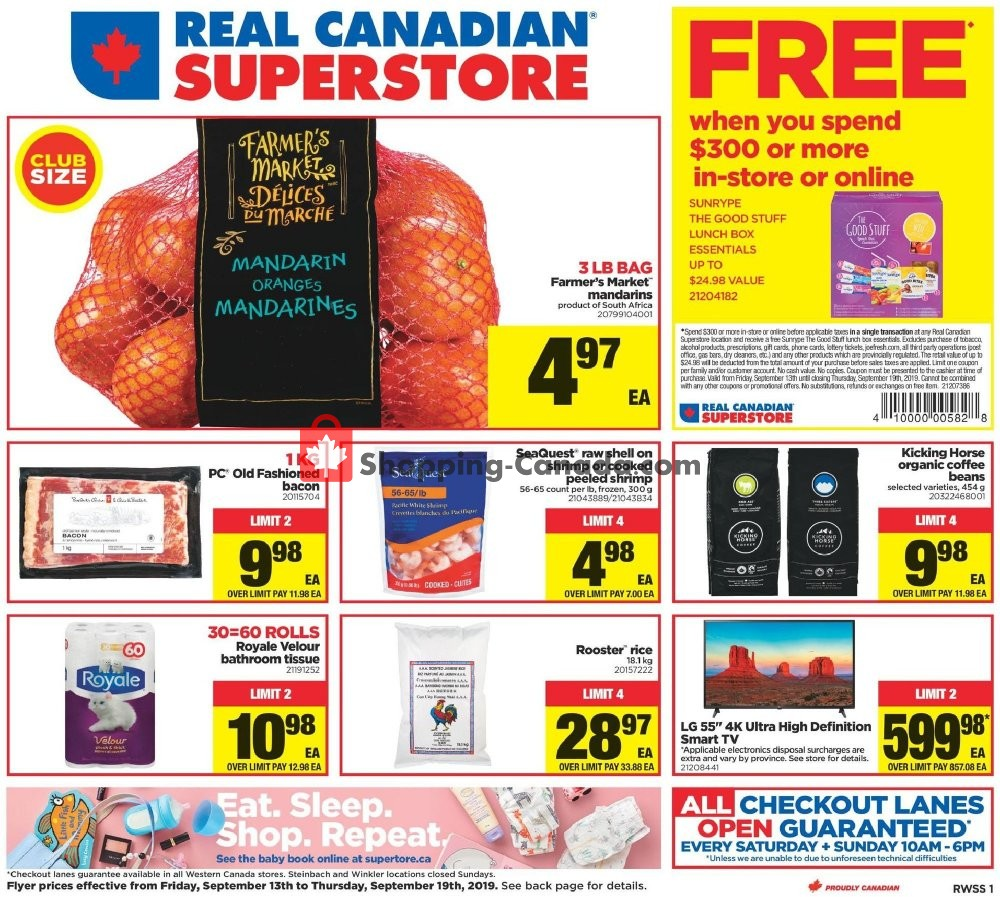 Flyer Real Canadian Superstore Canada - from Friday September 13, 2019 to Thursday September 19, 2019