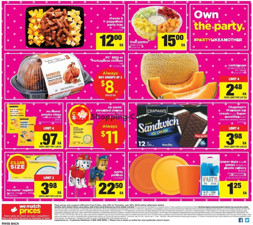 Flyer Real Canadian Superstore Canada - from Friday July 12, 2019 to Thursday July 18, 2019