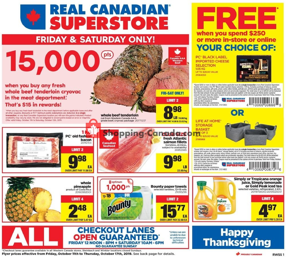 Flyer Real Canadian Superstore Canada - from Friday October 11, 2019 to Thursday October 17, 2019