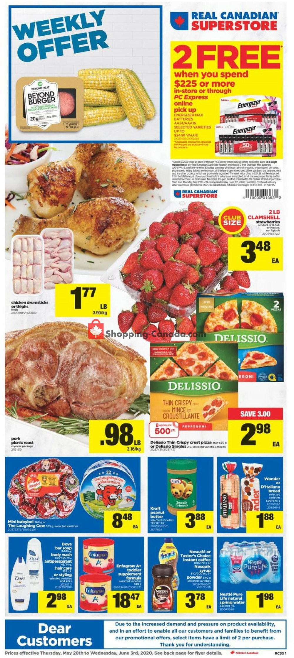 Flyer Real Canadian Superstore Canada - from Thursday May 28, 2020 to Wednesday June 3, 2020