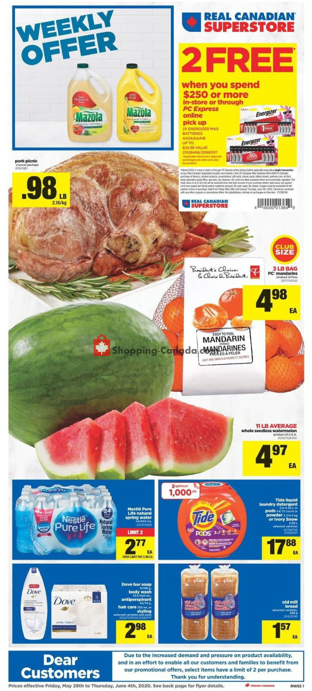 Flyer Real Canadian Superstore Canada - from Friday May 29, 2020 to Thursday June 4, 2020