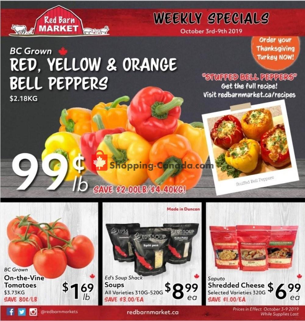 Flyer Red Barn Market Canada - from Thursday October 3, 2019 to Wednesday October 9, 2019