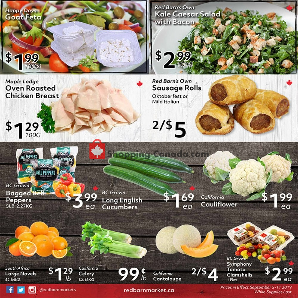 Flyer Red Barn Market Canada - from Thursday September 5, 2019 to Wednesday September 11, 2019
