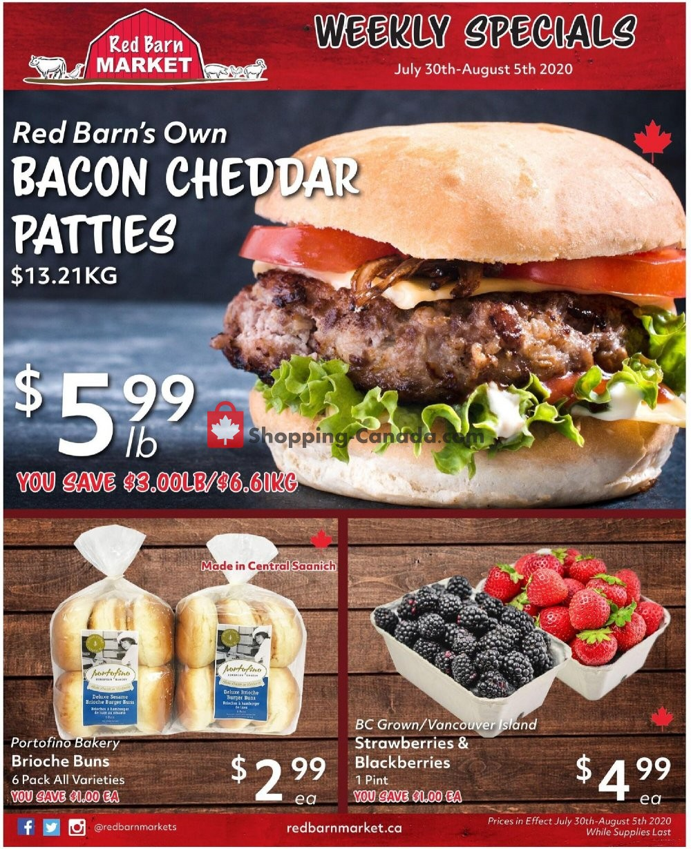 Flyer Red Barn Market Canada - from Thursday July 30, 2020 to Wednesday August 5, 2020