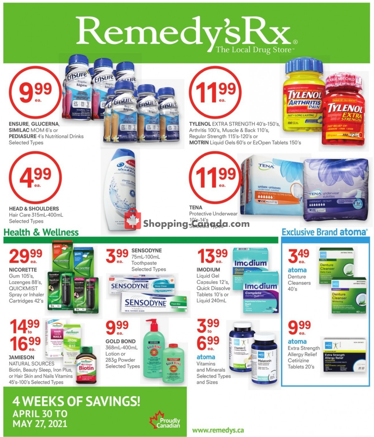 Flyer Remedy's RX Canada - from Friday April 30, 2021 to Thursday May 27, 2021