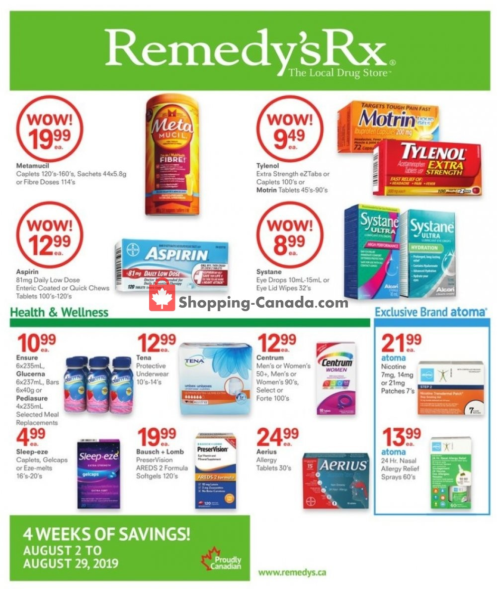 Flyer Remedy's RX Canada - from Friday August 2, 2019 to Thursday August 29, 2019