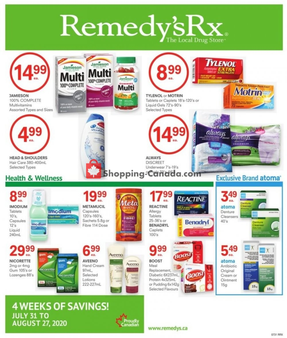 Flyer Remedy's RX Canada - from Friday July 31, 2020 to Thursday August 27, 2020