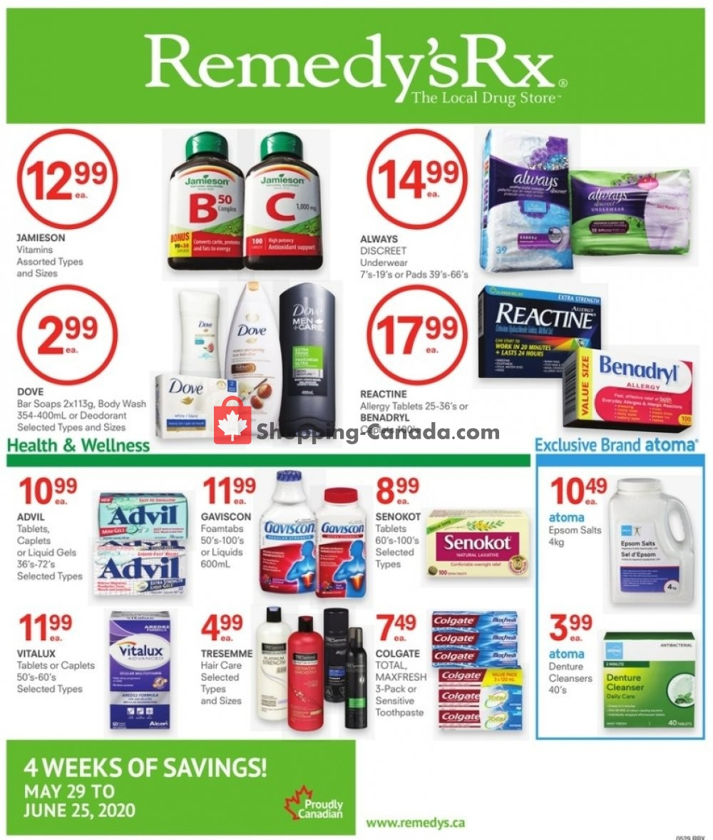 Flyer Remedy's RX Canada - from Friday May 29, 2020 to Thursday June 25, 2020