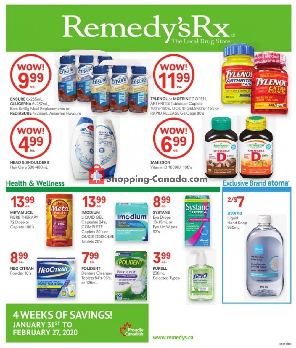 Flyer Remedy's RX Canada - from Friday January 31, 2020 to Thursday February 27, 2020