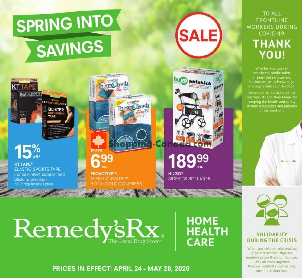 Flyer Remedy's RX Canada - from Friday April 24, 2020 to Thursday May 28, 2020