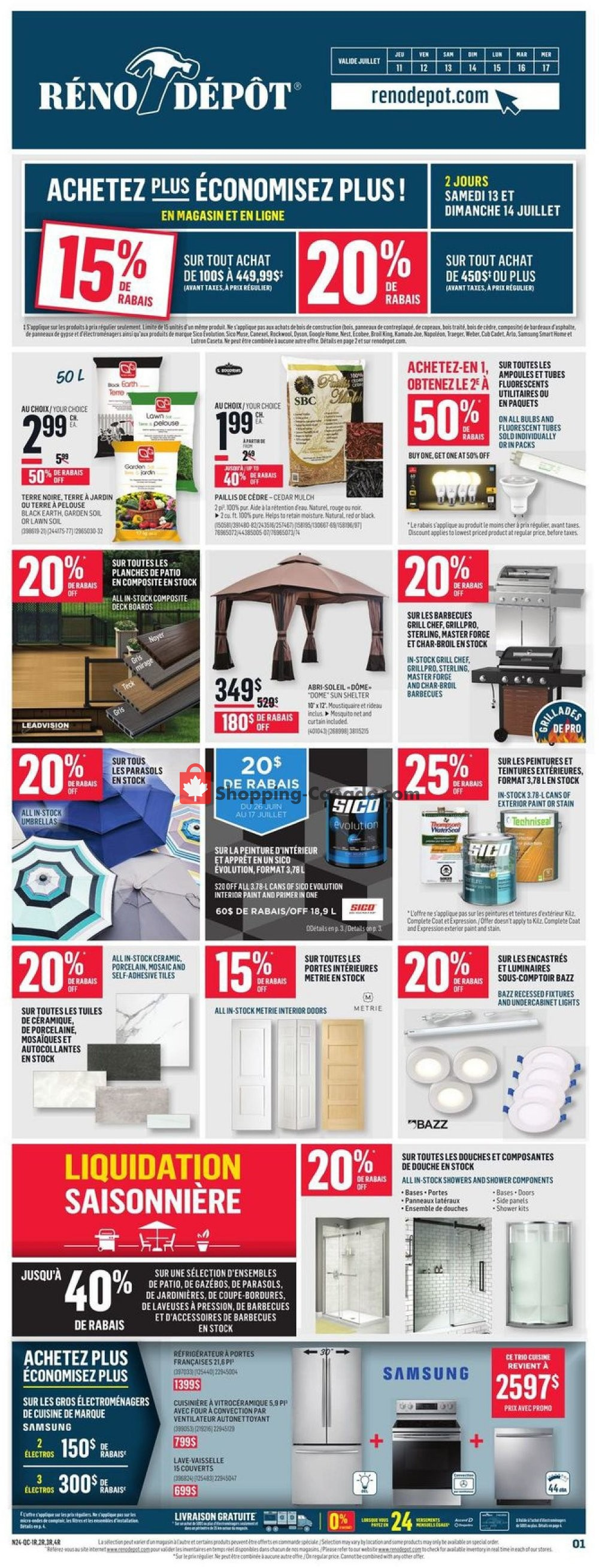 Flyer Réno Dépôt Canada - from Thursday July 11, 2019 to Wednesday July 17, 2019