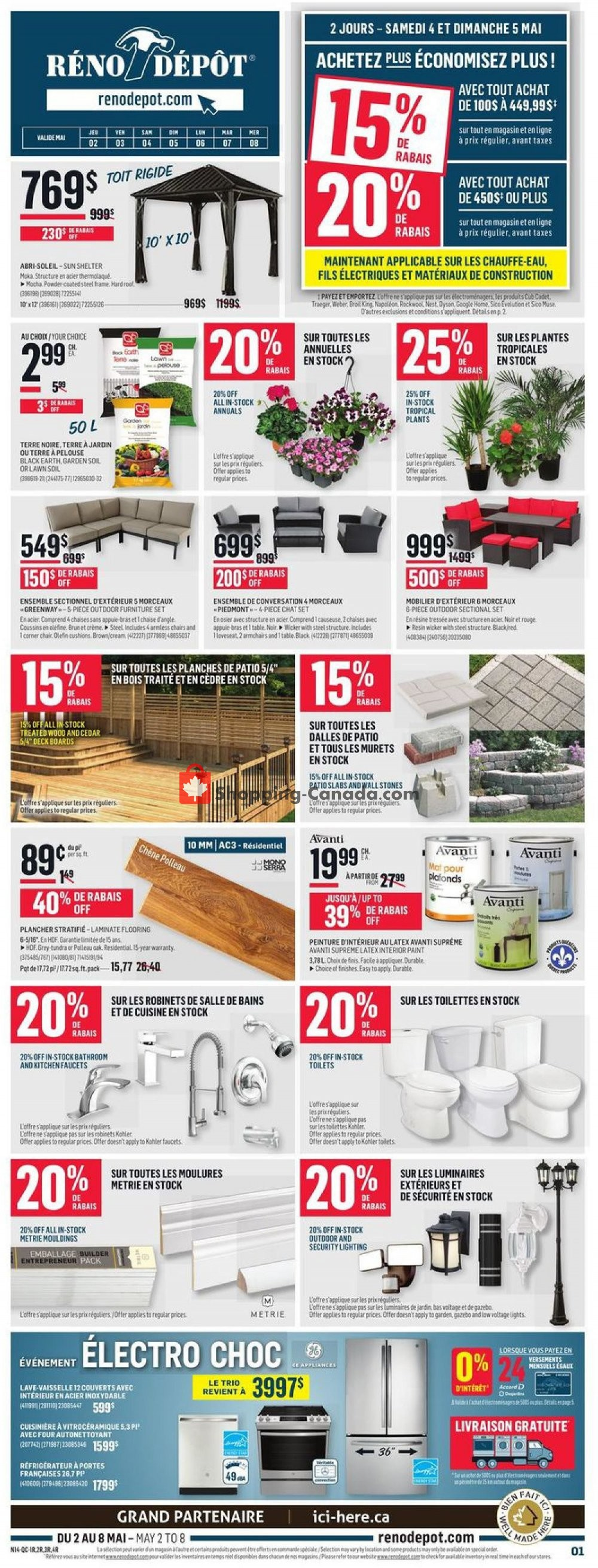 Flyer Réno Dépôt Canada - from Thursday May 2, 2019 to Wednesday May 8, 2019