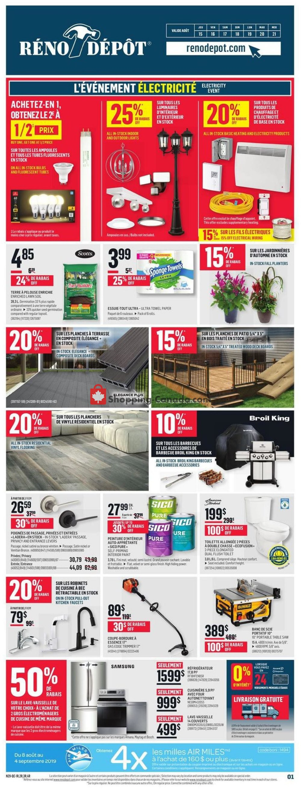 Flyer Réno Dépôt Canada - from Thursday August 15, 2019 to Wednesday August 21, 2019