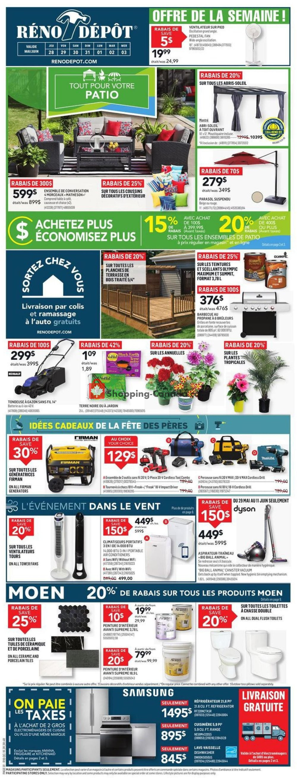 Flyer Réno Dépôt Canada - from Thursday May 28, 2020 to Wednesday June 3, 2020