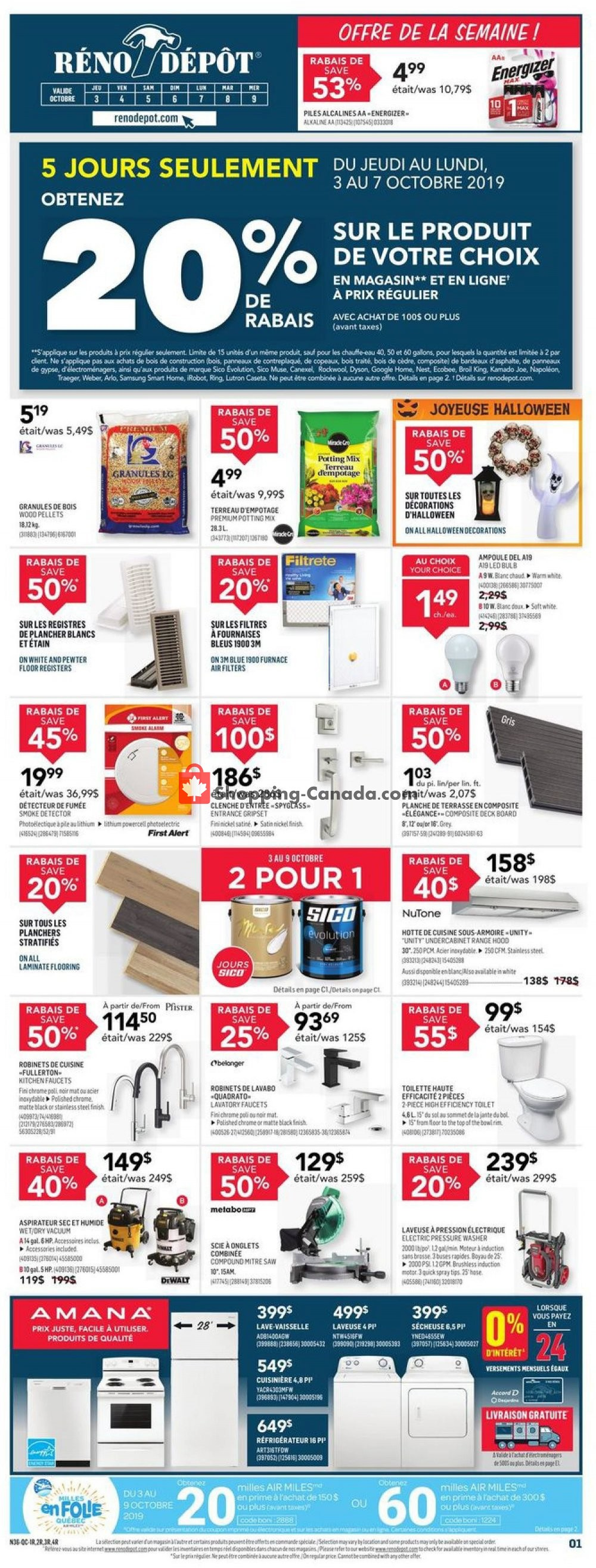 Flyer Réno Dépôt Canada - from Thursday October 3, 2019 to Wednesday October 9, 2019
