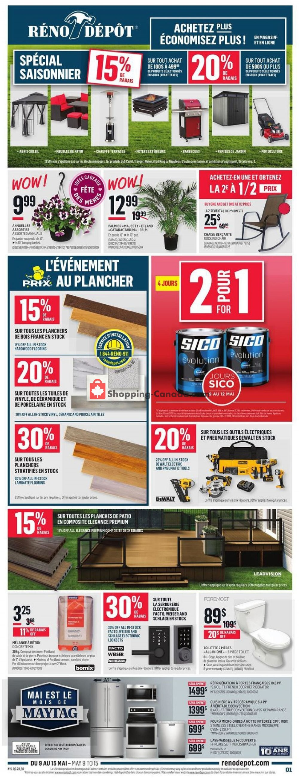 Flyer Réno Dépôt Canada - from Thursday May 9, 2019 to Wednesday May 15, 2019