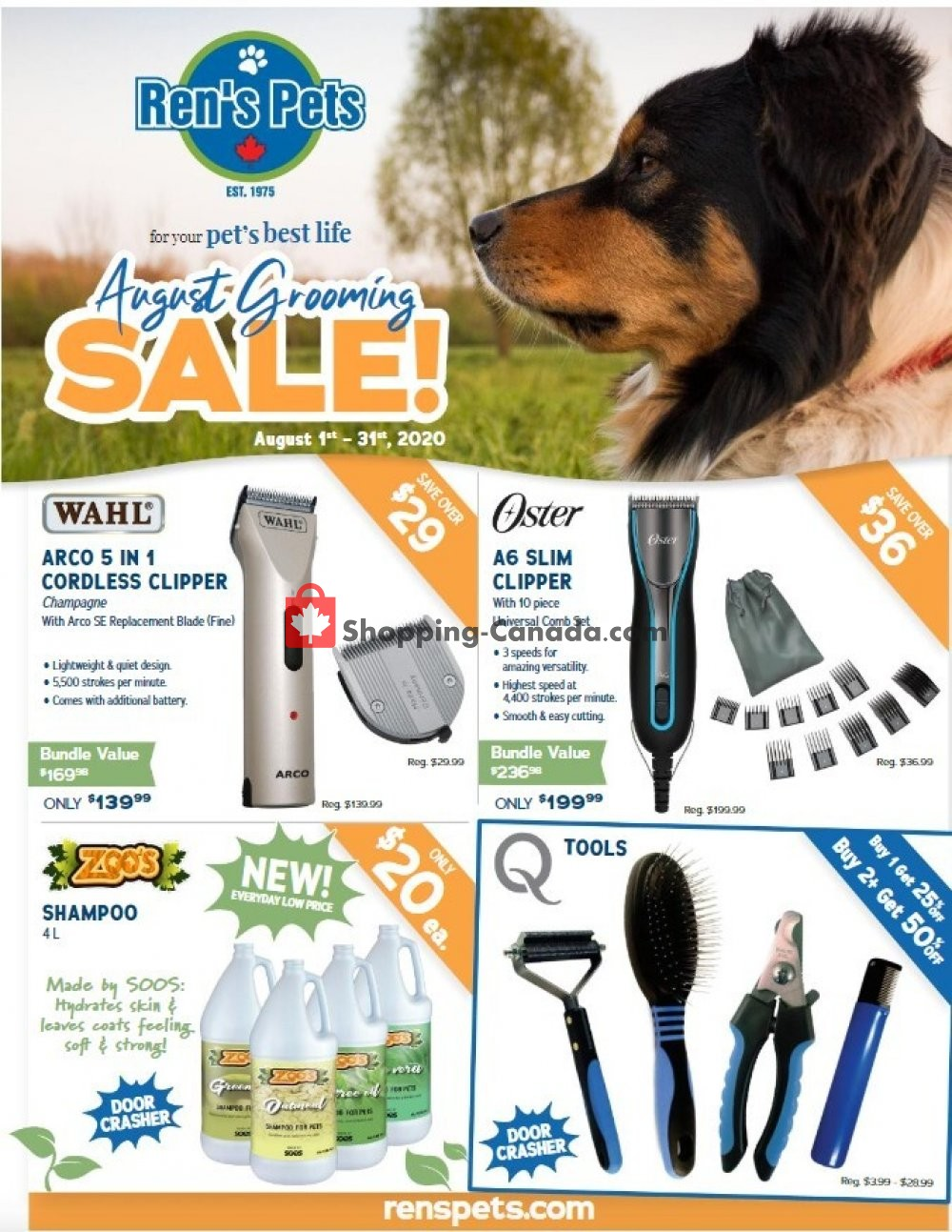 Flyer Ren's Pets Depot Canada - from Saturday August 1, 2020 to Monday August 31, 2020