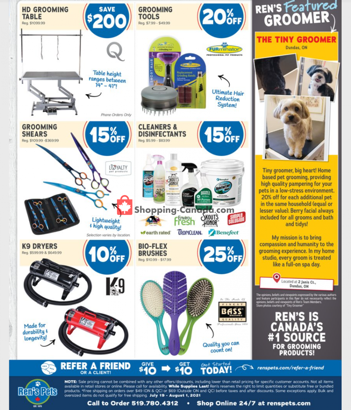 Flyer Ren's Pets Depot Canada - from Monday July 19, 2021 to Sunday August 1, 2021