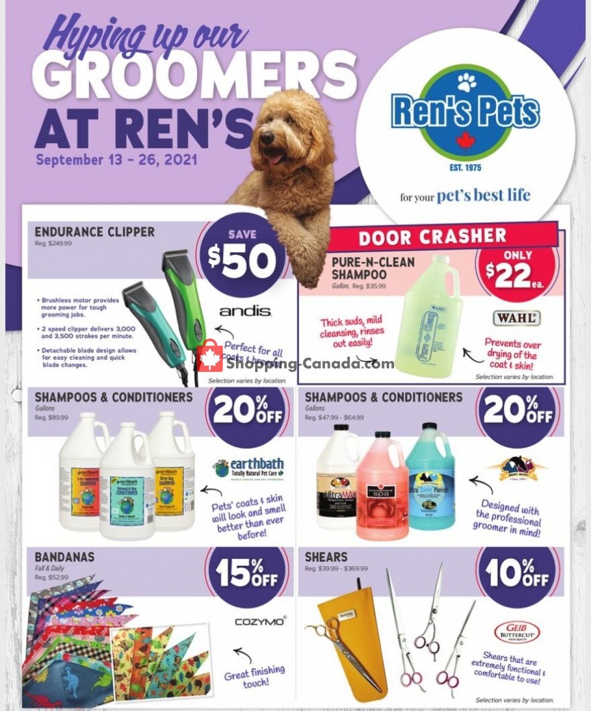 Flyer Ren's Pets Depot Canada - from Monday September 13, 2021 to Sunday September 26, 2021