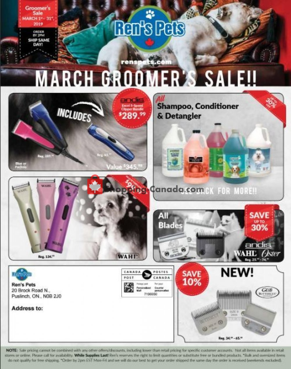 Flyer Ren's Pets Depot Canada - from Friday March 1, 2019 to Sunday March 31, 2019