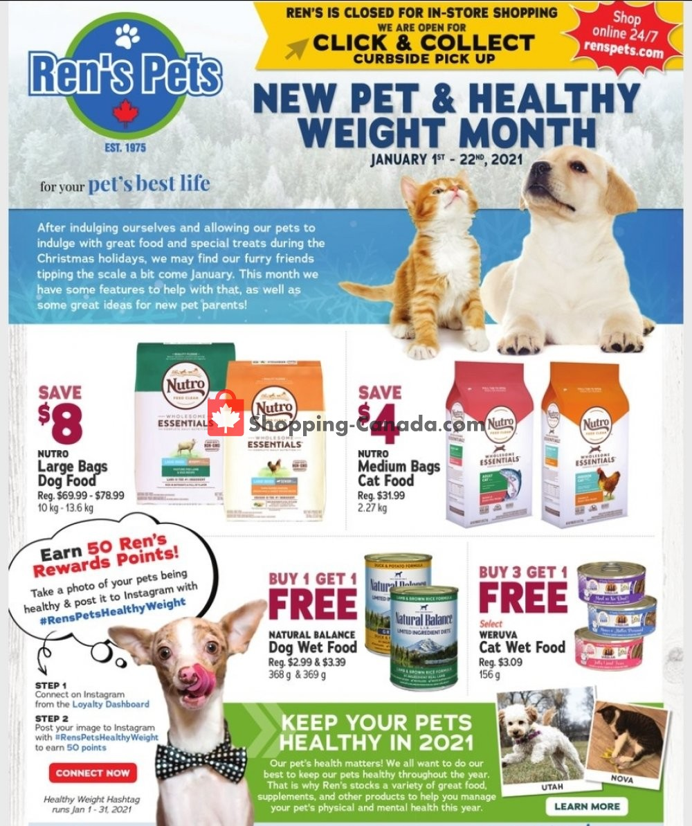 Flyer Ren's Pets Depot Canada - from Friday January 1, 2021 to Friday January 22, 2021