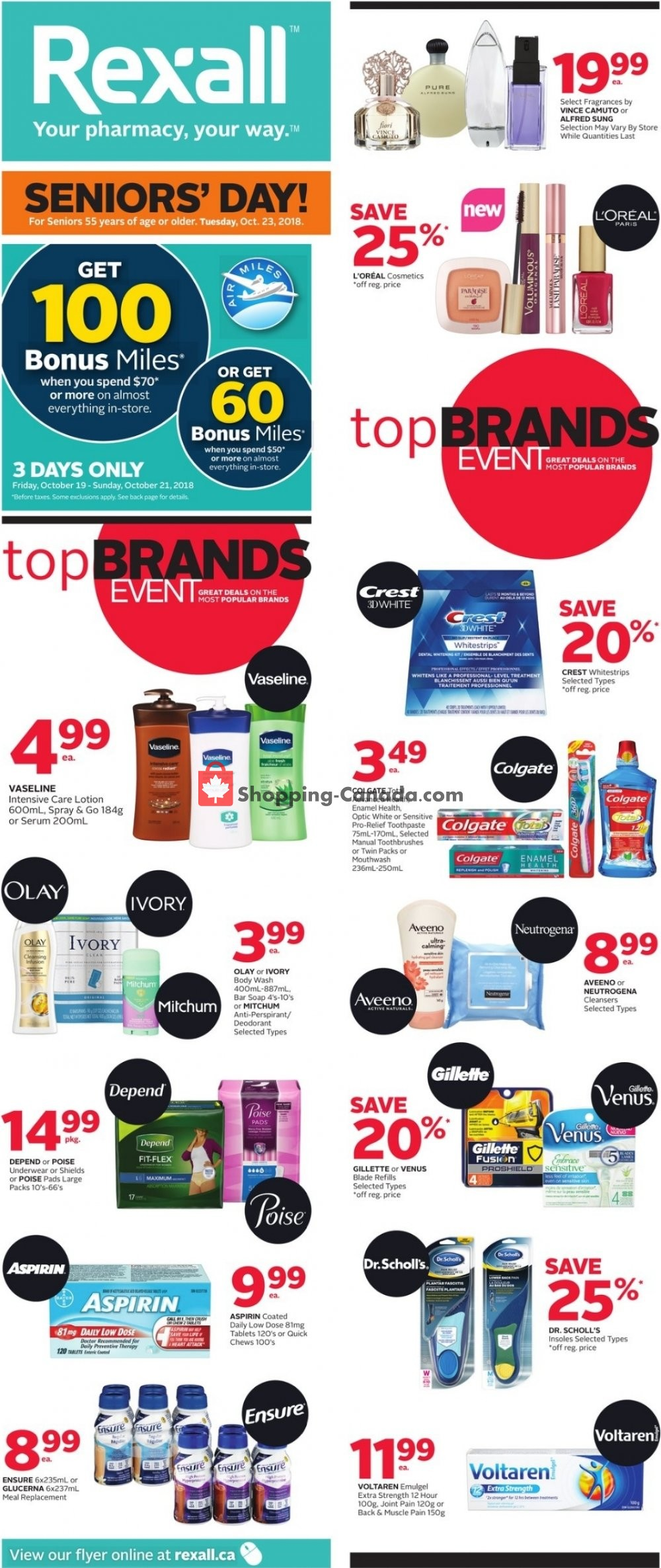 Flyer Rexall Drug Store Canada - from Friday October 19, 2018 to Thursday October 25, 2018