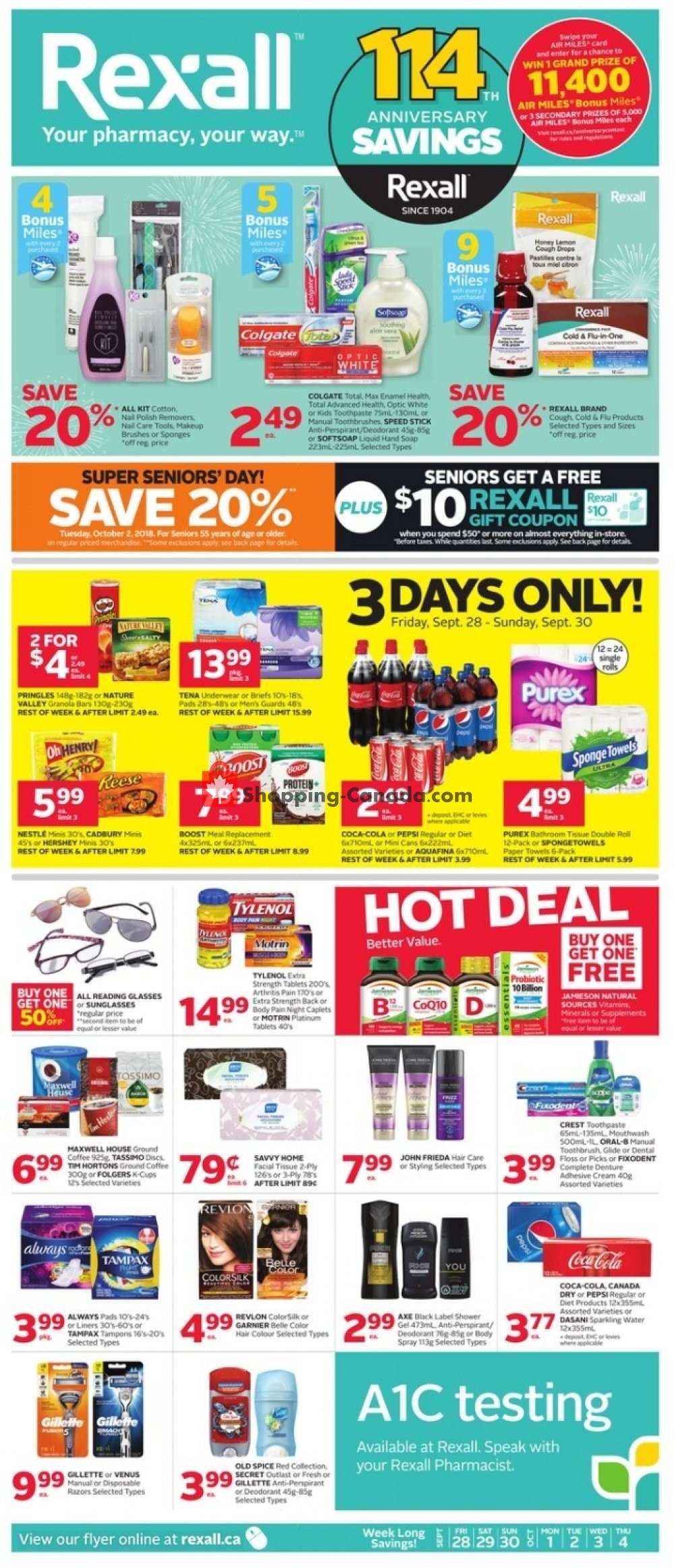 Flyer Rexall Drug Store Canada - from Friday September 28, 2018 to Thursday October 4, 2018