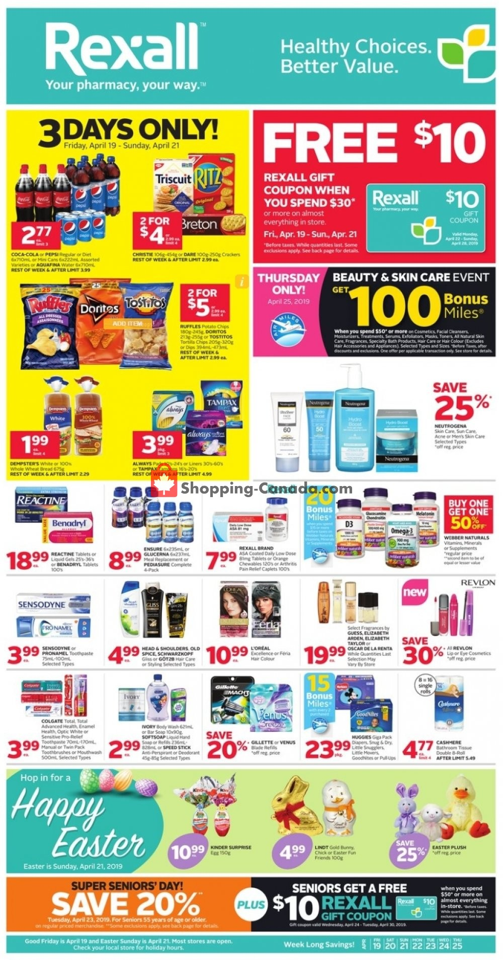 Flyer Rexall Drug Store Canada - from Friday April 19, 2019 to Thursday April 25, 2019