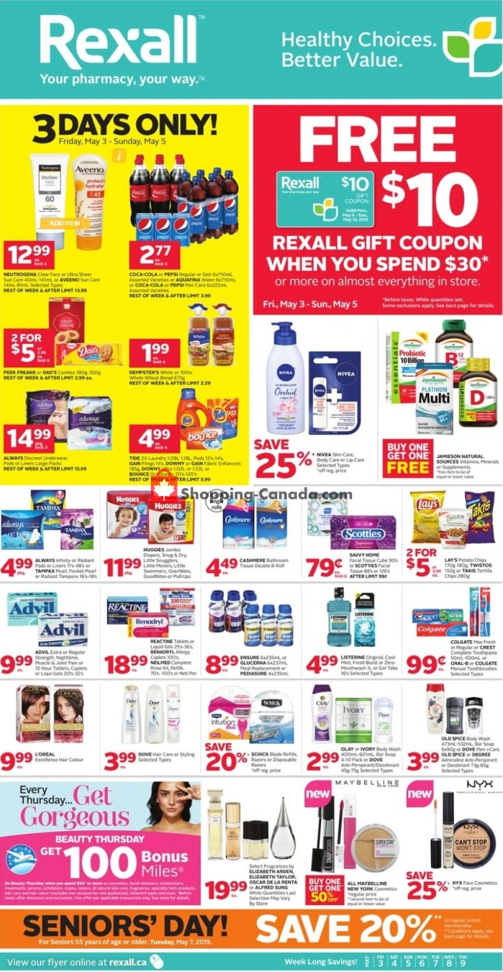 Flyer Rexall Drug Store Canada - from Friday May 3, 2019 to Thursday May 9, 2019