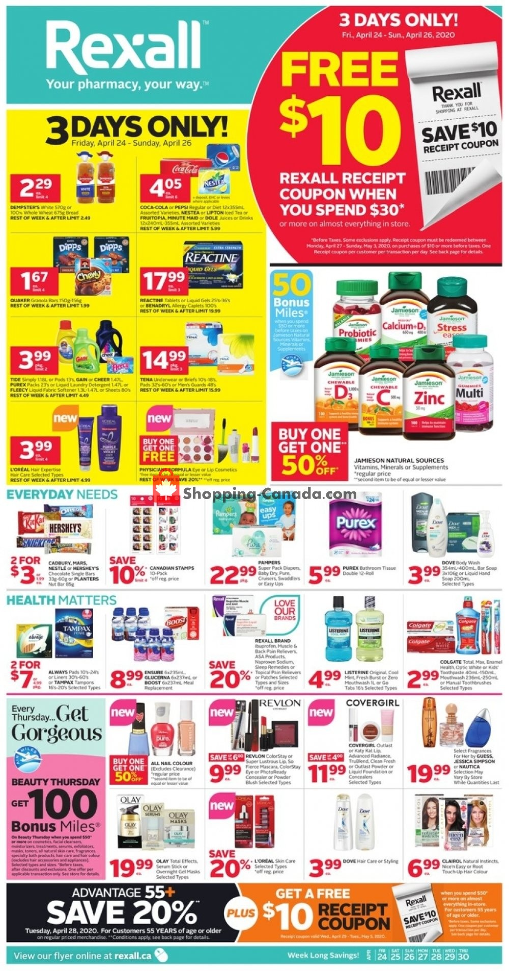 Flyer Rexall Drug Store Canada - from Friday April 24, 2020 to Thursday April 30, 2020