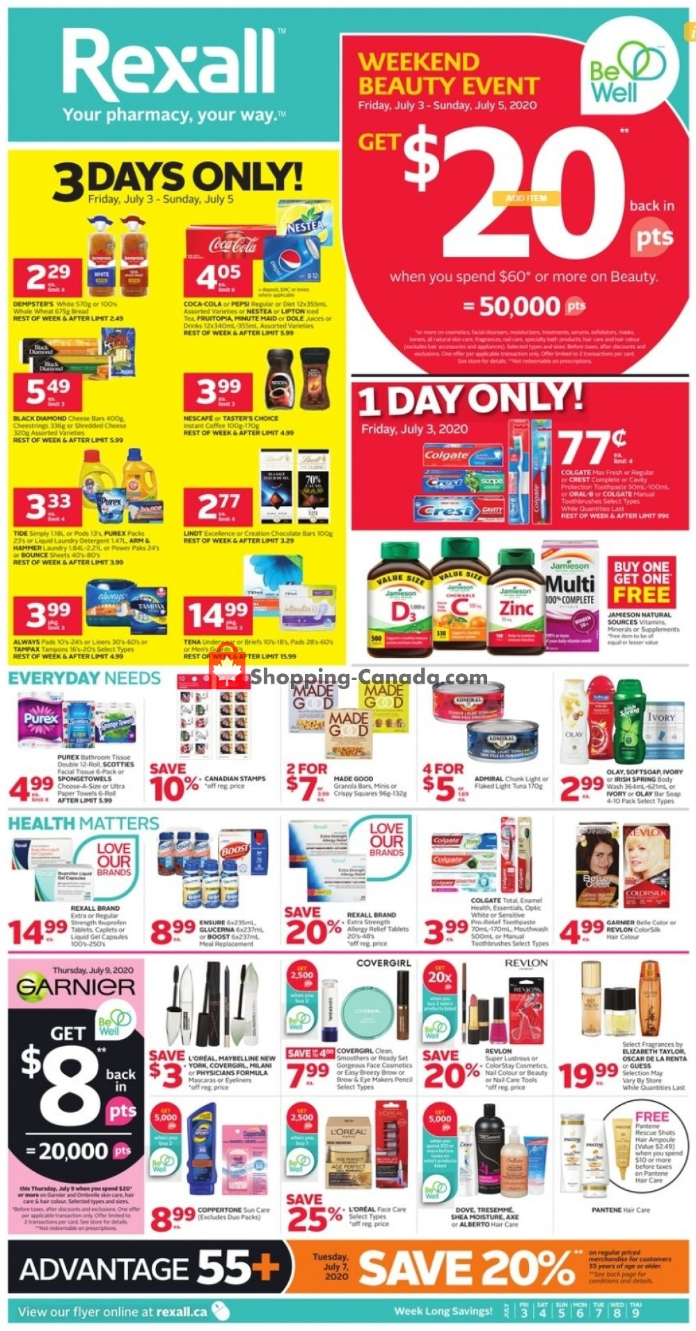 Flyer Rexall Drug Store Canada - from Friday July 3, 2020 to Thursday July 9, 2020