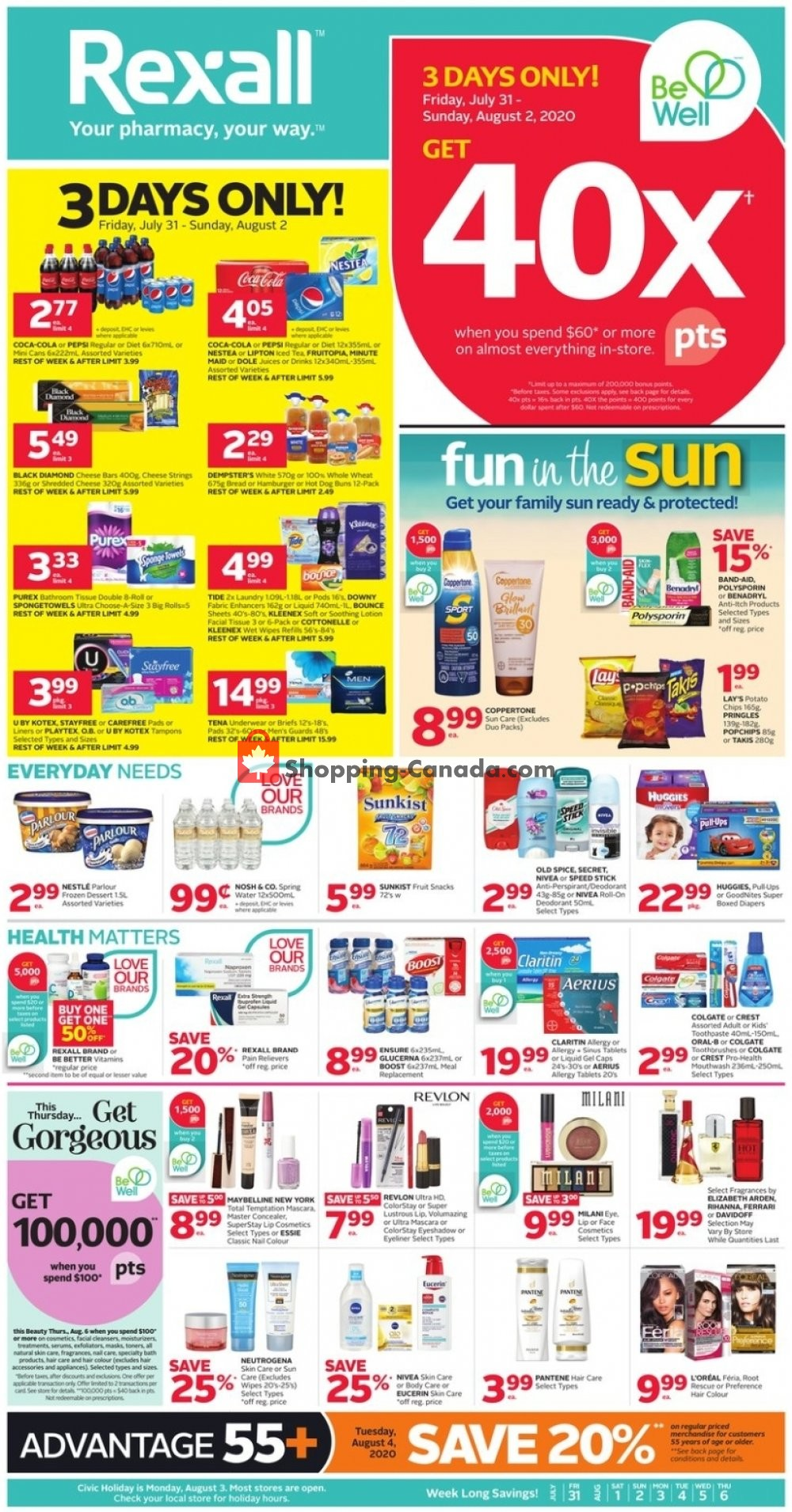 Flyer Rexall Drug Store Canada - from Friday July 31, 2020 to Thursday August 6, 2020